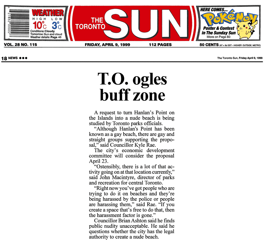 Toronto Sun Toronto Sun 1999-04-09 - Hanlan's Point CO-zone proposed by Simm's brief to Council